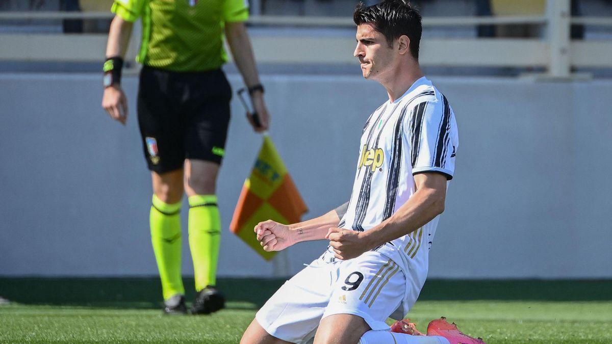 Morata esulta dopo il gol del pareggio della Juventus contro la Fiorentina