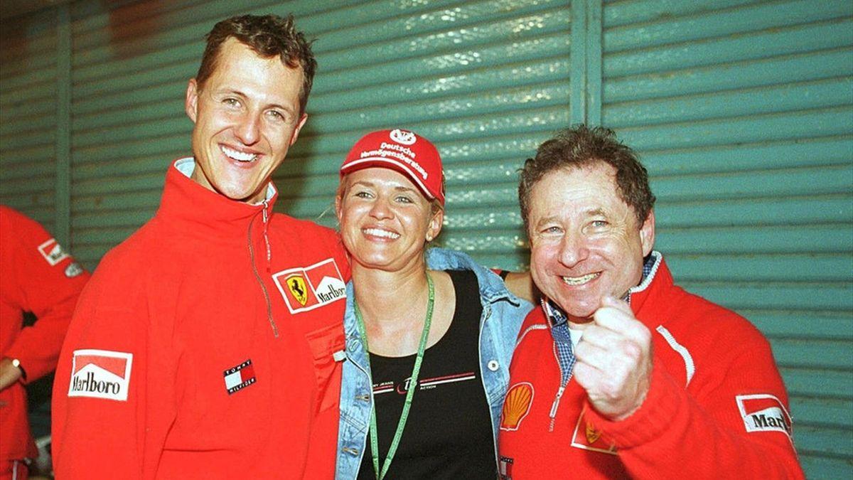 Michael Schumacher, Corina, Jean Todt (Ferrari) - GP of Japan 2000
