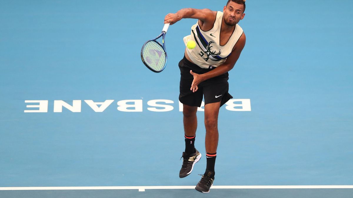 BRISBANE, AUSTRALIA - JANUARY 02: Nick Kyrios of Australia trains ahead of the 2020 ATP Cup Group Stage at Pat Rafter Arena on January 02, 2020 in Brisbane, Australia. (Photo by Chris Hyde/Getty Images)