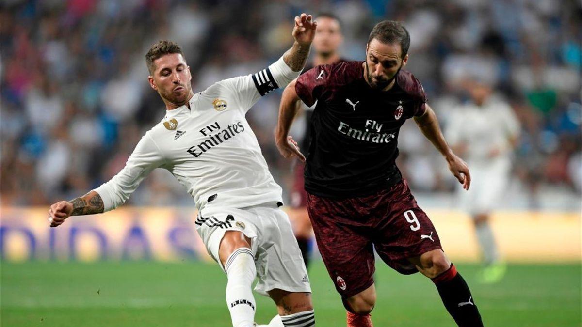 Higuain, Sergio Ramos - Real Madrid-Milan - Trofeo Santiago Bernabéu 2018 - Getty Images