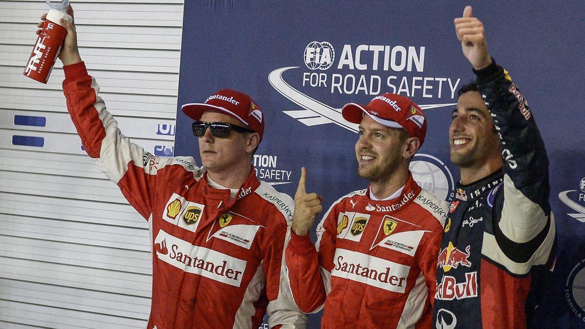 Sebastian Vettel celebrates his victory in Singapore