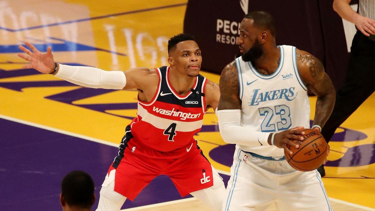 Расселл Уэстбрук («Вашингтон Уизардс»), Леброн Джеймс («Лос-Анджелес Лейкерс»), НБА