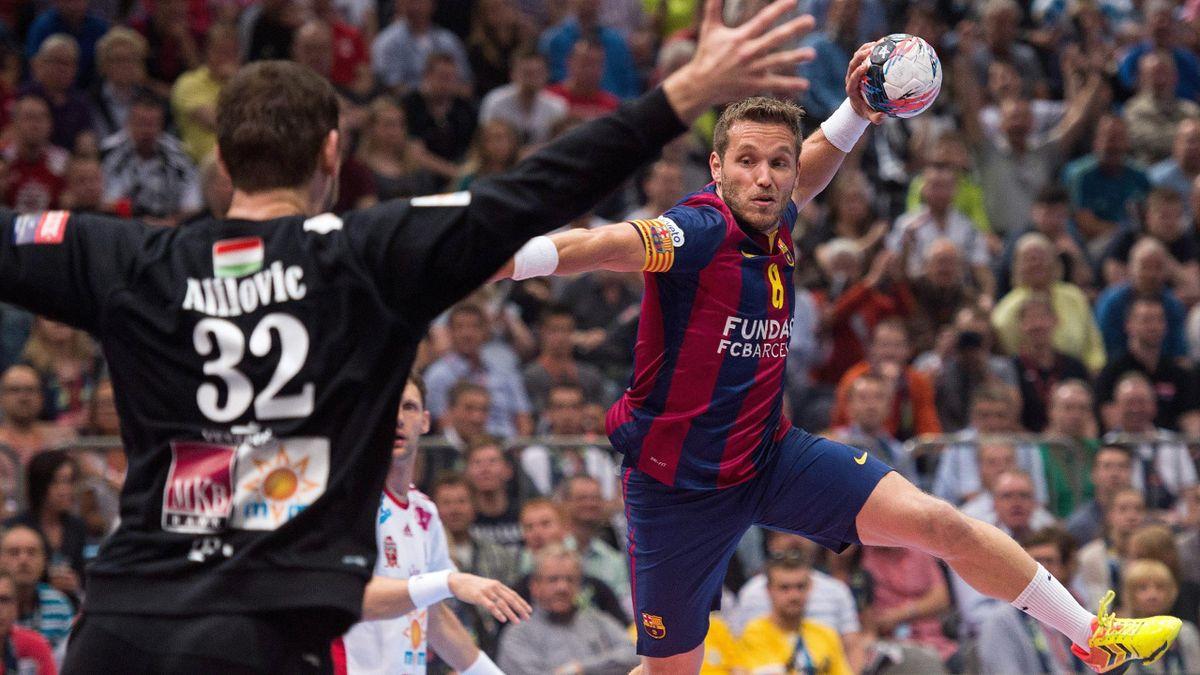 Víctor Tomás, en el partido en el que el Barcelona ha ganado la Copa de Europa de balonmano