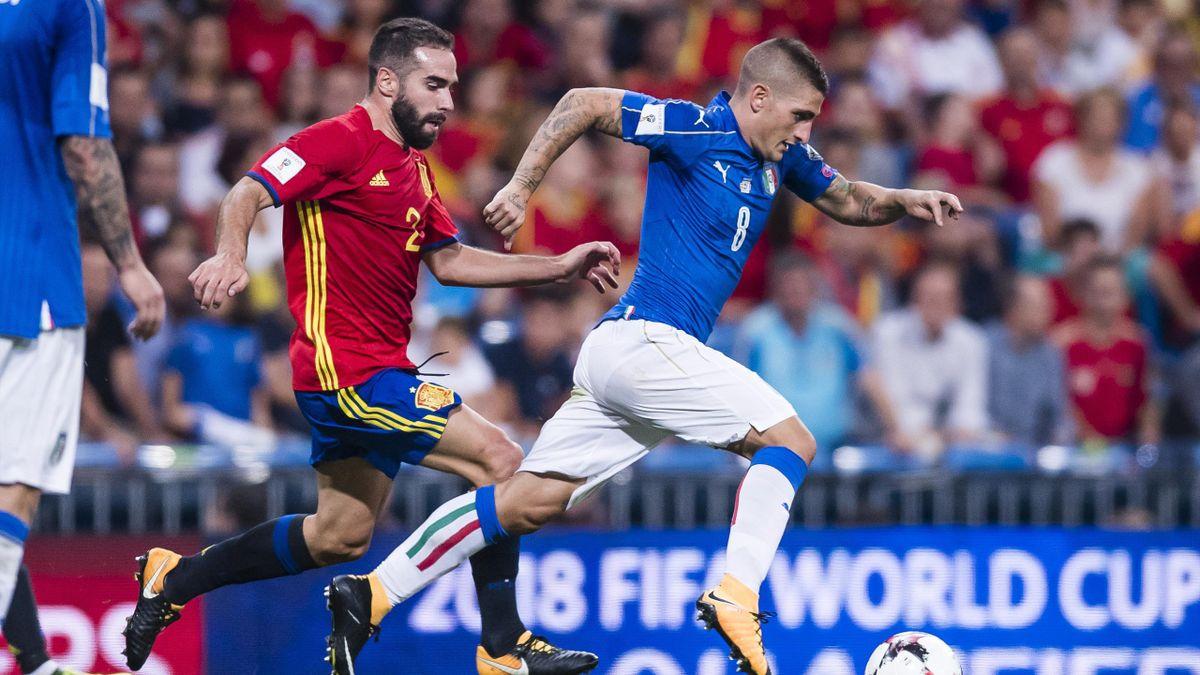 Marco Verratti inseguito da Dani Carvajal, Spagna-Italia, Qualificazioni Coppa del Mondo 2018, Getty Images