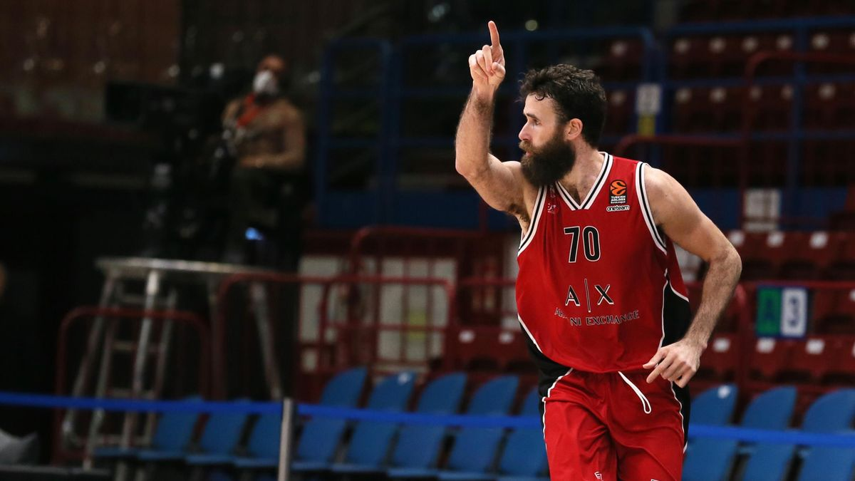 Luigi Datome, #70 of AX Armani Exchange Milan during the 2020/2021 Turkish Airlines EuroLeague match between AX Armani Exchange Milan and Valencia Basket at Mediolanum Forum on January 12, 2021 in Milan, Italy