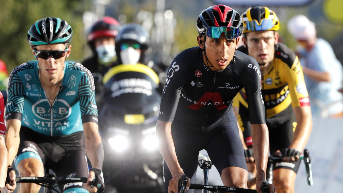 Pierre Rolland and Egan Bernal during Stage 15 of the Tour de France 2020