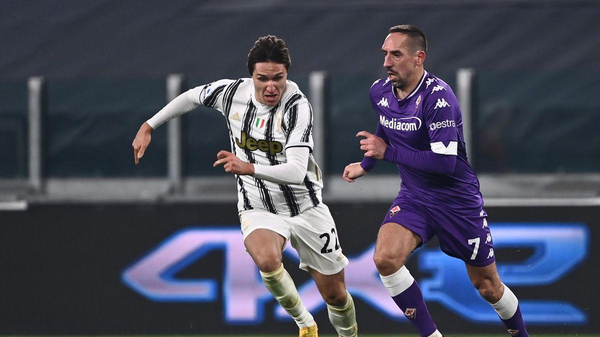 Franck Ribéry (r.) fügte mit Florenz Juve die erste Niederlage zu
