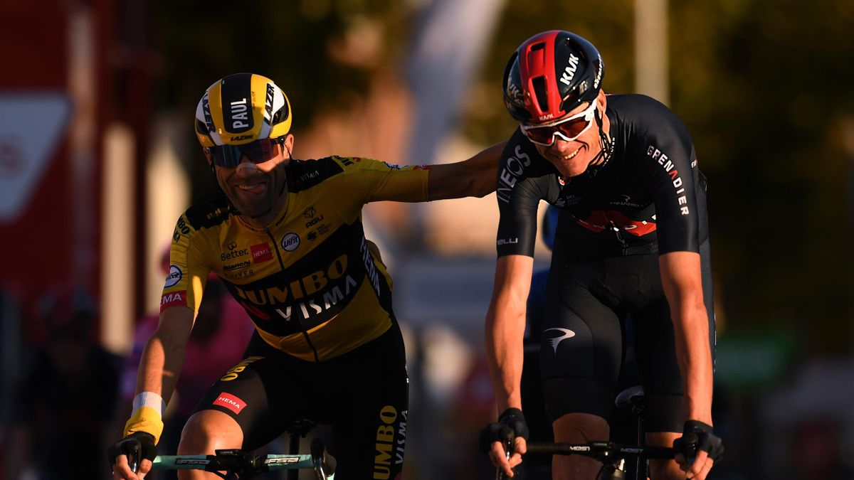Paul Martens of Germany and Team Jumbo - Visma / Christopher Froome of The United Kingdom and Team INEOS - Grenadiers / during the 75th Tour of Spain 2020