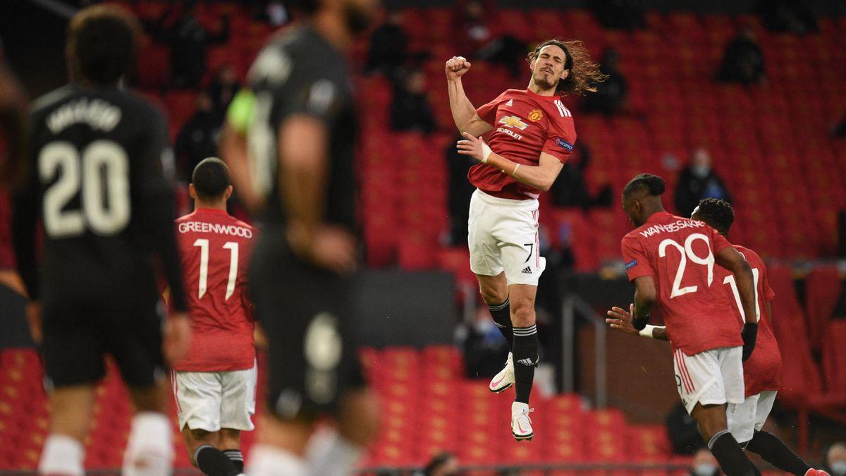 Edinson Cavani (Manchester United) bejubelt seinen Treffer gegen den FC Granada