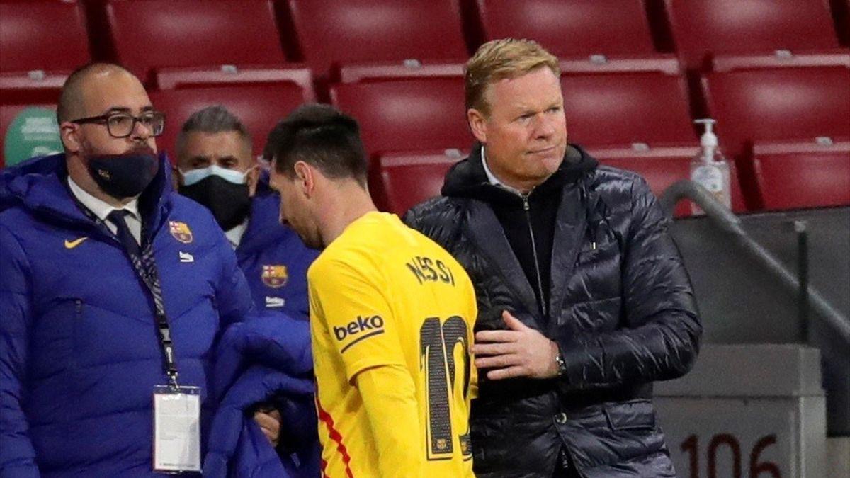 Leo Messi y Ronald Koeman (Barcelona)