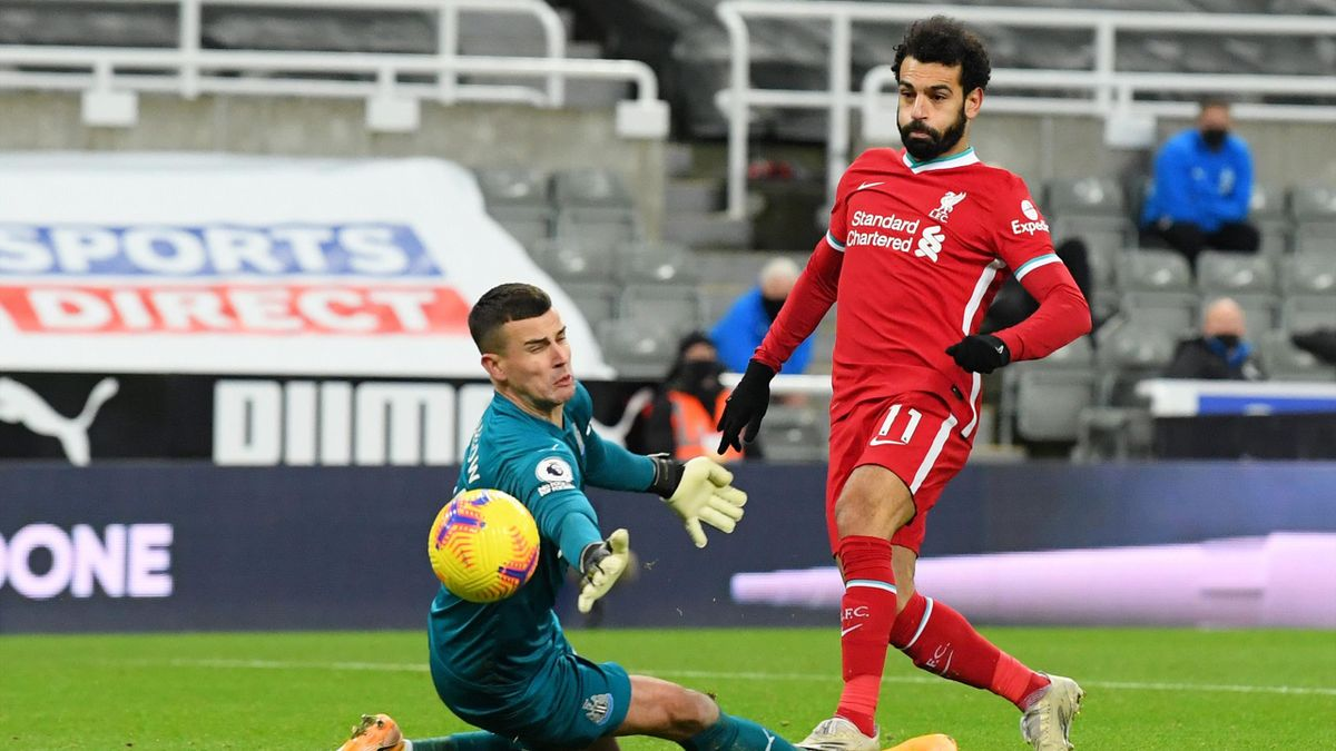 Mohamed Salah (FC Liverpool) vergibt frei vor Newcastle-Keeper Karl Darlow
