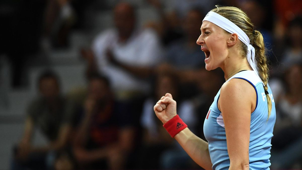 Kristina Mladenovic lors de France / Etats-Unis en Fed Cup