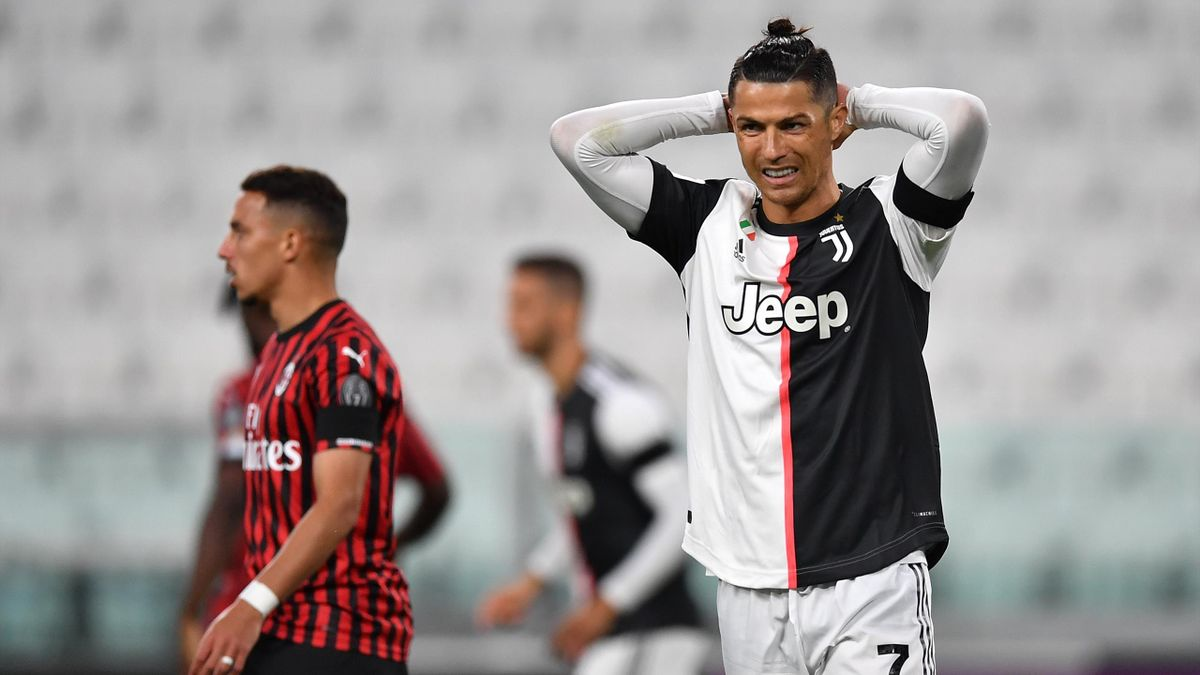 Cristiano Ronaldo of Juventus reacts during the Coppa Italia Semi-Final Second Leg match between Juventus and AC Milan at Allianz Stadium on June 12, 2020 in Turin, Italy