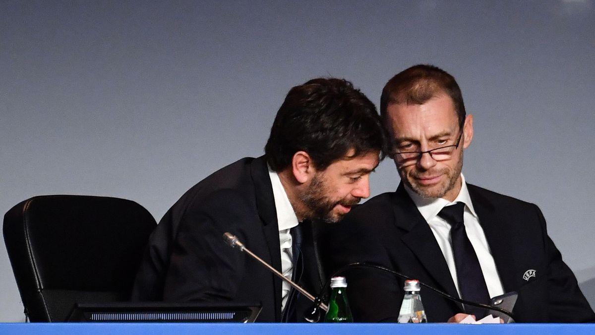 Il presidente dell'ECA Andrea Agnelli e il presidente della UEFA Aleksander Ceferin