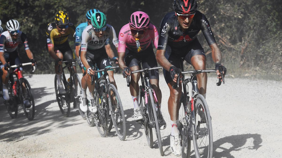 Gianni Moscon pulling Ineos Grenadiers leader Egan Bernal in the pink jersey during stage 11 of the Giro d'Italia 2021 to Montalcino
