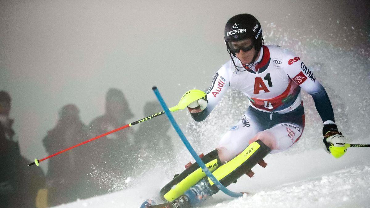 Clément Noël lors de la 1re manche du slalom de Schladming