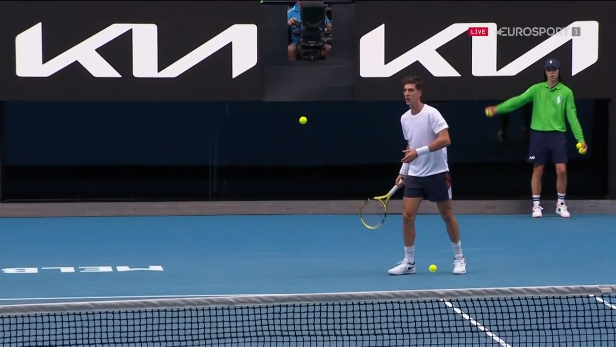 Thanasi Kokkinakis: Bizarre moment with two balls on the court at the 2021 Australian Open