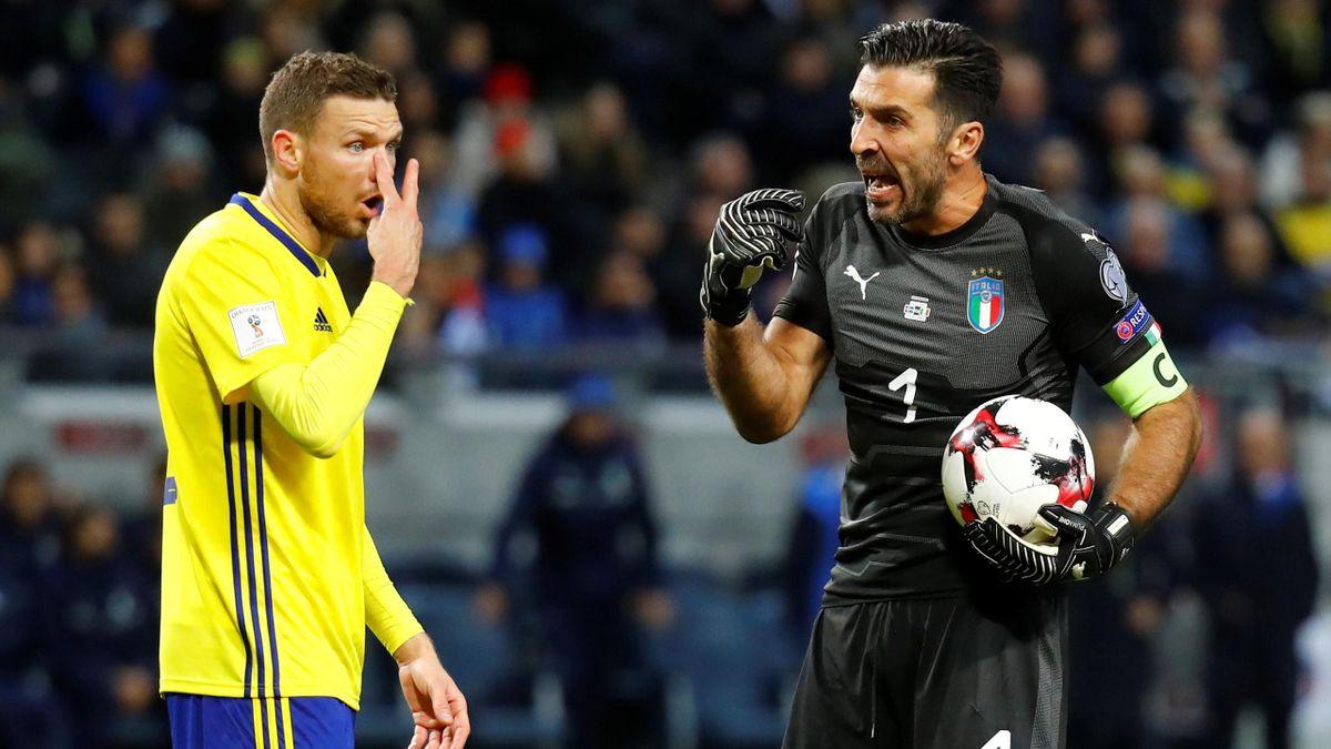 Italys Gianluigi Buffon and Swedens Marcus Berg