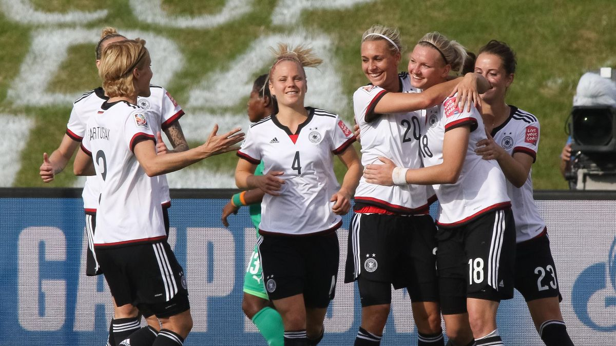 Alexandra Popp (Germany) celebrates a goal with teammate during the Women's World Cup vs Cote d'Ivoire on June 7, 2015