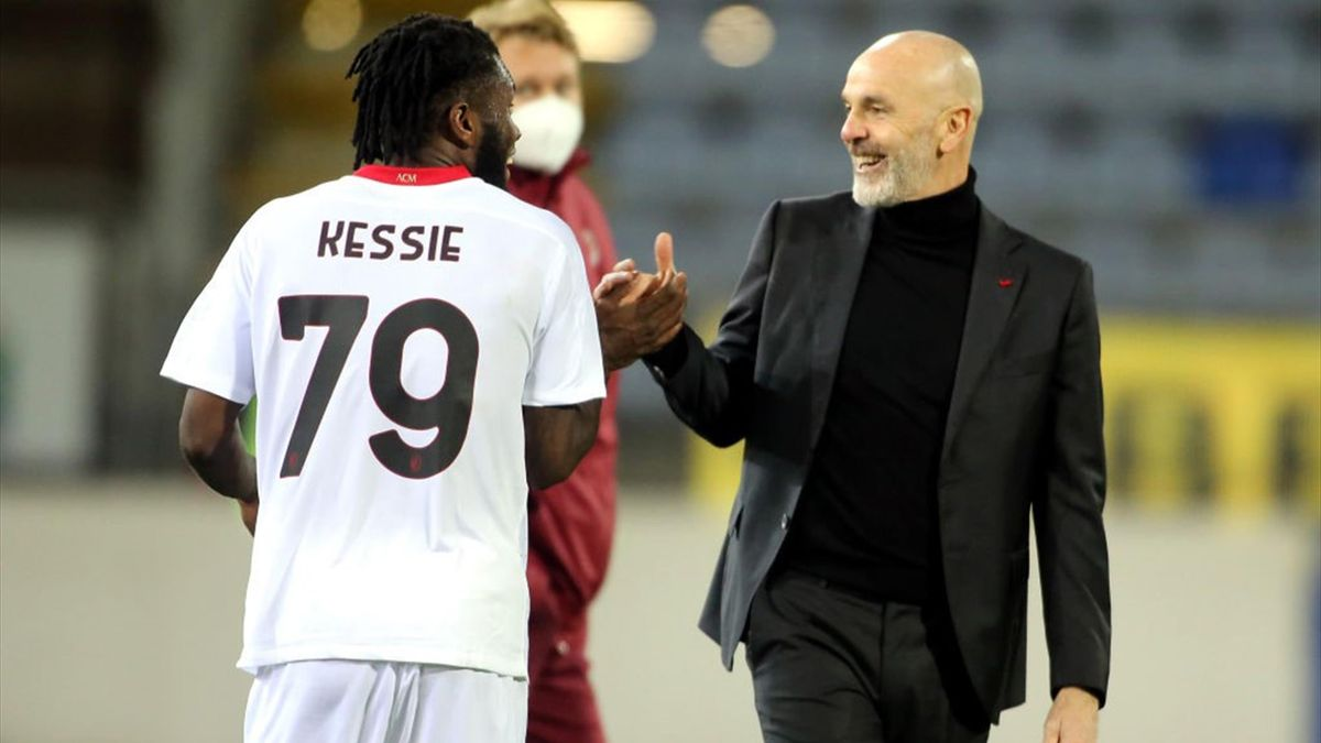 Pioli, Kessié - Cagliari-Milan - Serie A 2020/2021 - Getty Images