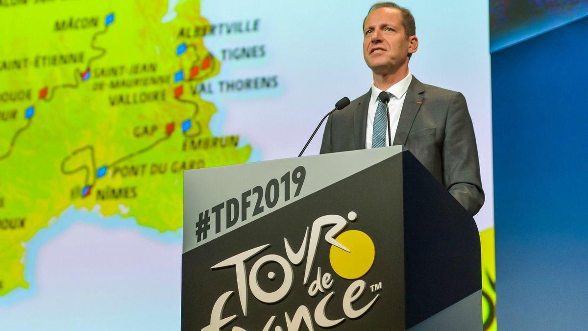 Christian Prudhomme durant la présentation du Tour de France 2019