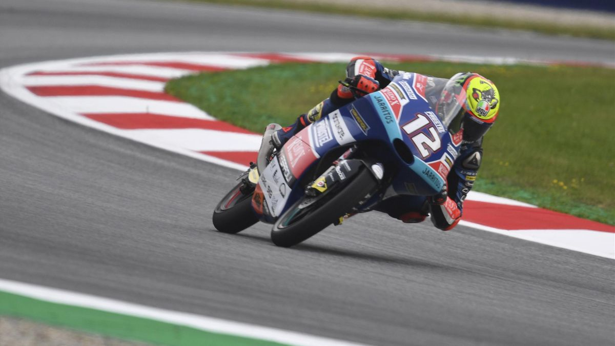 Marco Bezzecchi of Italy and Pruestel GP rounds the bend during the MotoGp of Austria - Free Practice at Red Bull Ring on August 10, 2018 in Spielberg, Austria