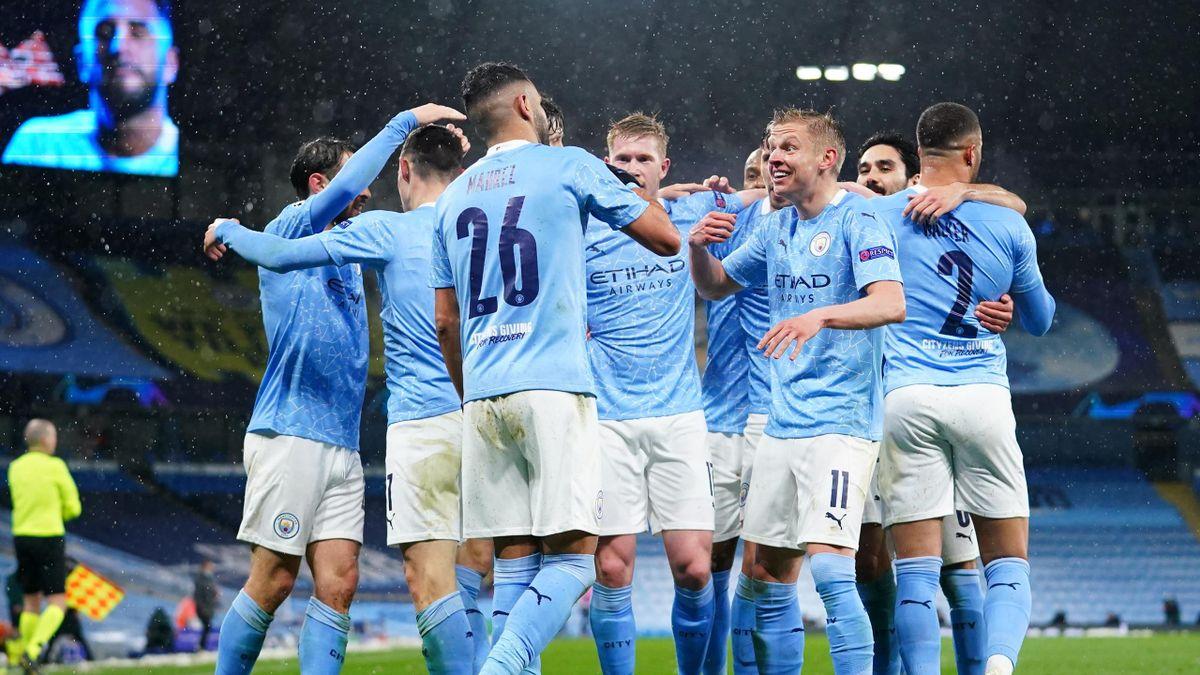 Riyad Mahrez of Manchester City celebrates his second goal