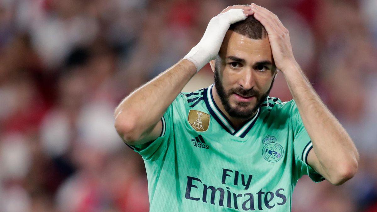 Le dépit de Karim Benzemza lors du match de Liga entre Séville et le Real Madrid en septembre 2019.
