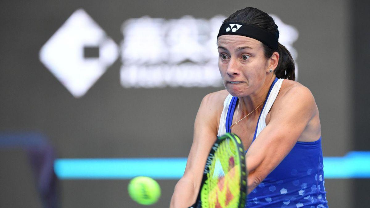 Anastasija Sevastova of Latvia hits a return during her women's semi-final match against Naomi Osaka of Japan at the China Open tennis tournament in Beijing on October 6, 2018.