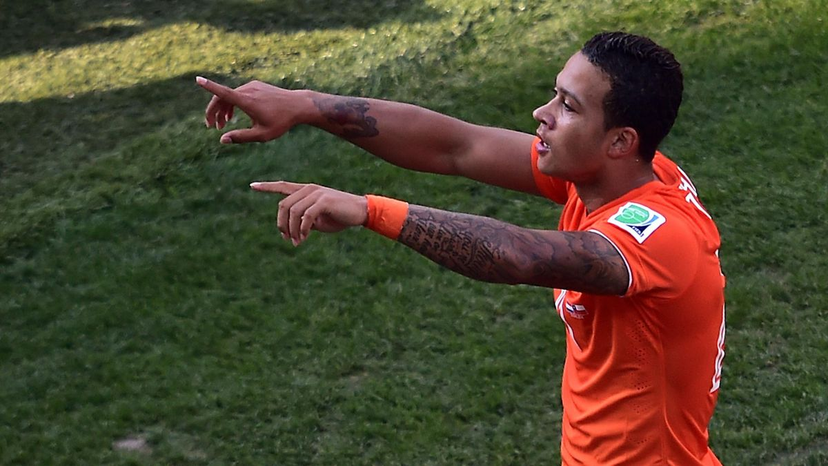 Memphis Depay celebrates scoring for the Netherlands at the World Cup