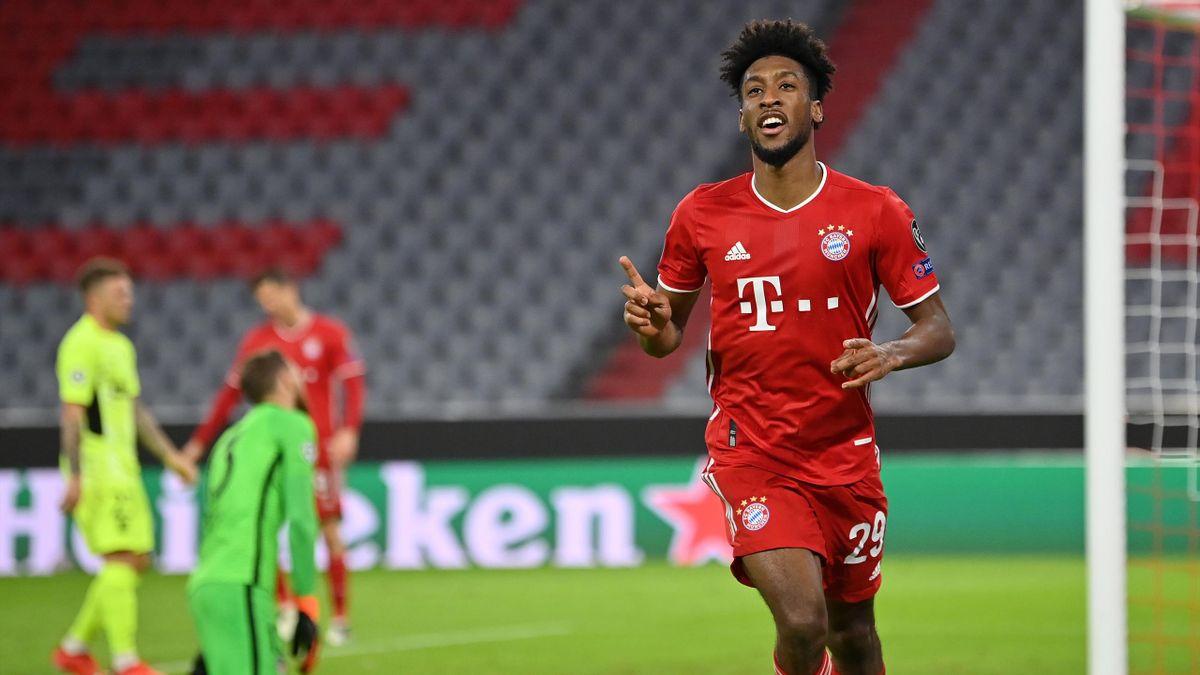 Kingsley Coman (FC Bayern) jubelt über einen Treffer gegen Atlético Madrid