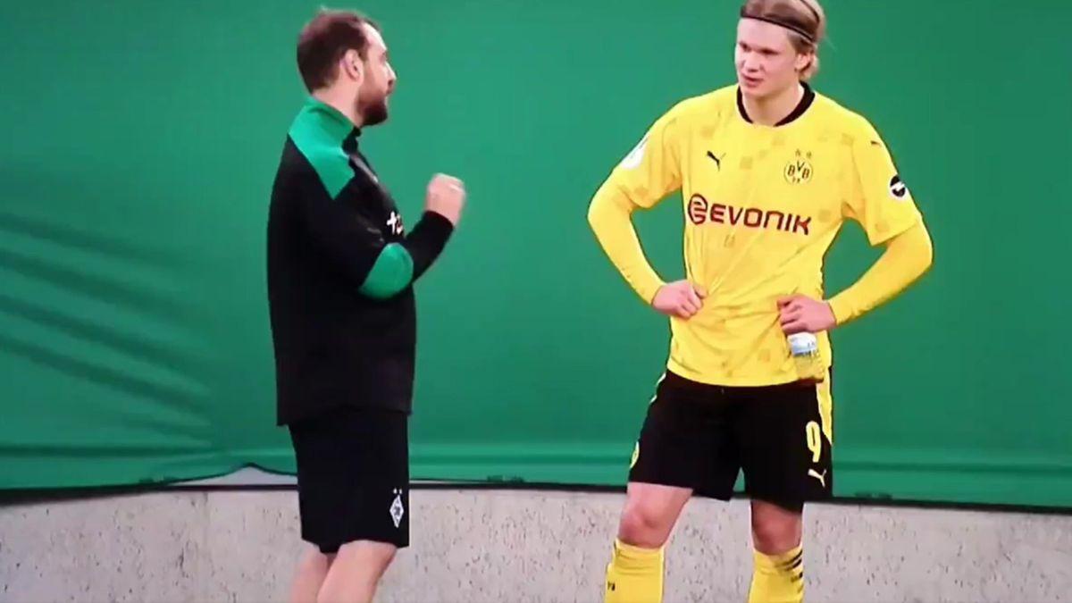 Gladbach Co-Trainer René Marić und BVB-Torjäger Erling Haaland