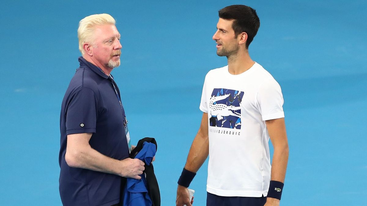 Boris Becker and Novak Djokovic of Serbia talk during a practice session ahead of the 2020 ATP Cup Group Stage at Pat Rafter Arena on January 02, 2020 in Brisbane, Australia