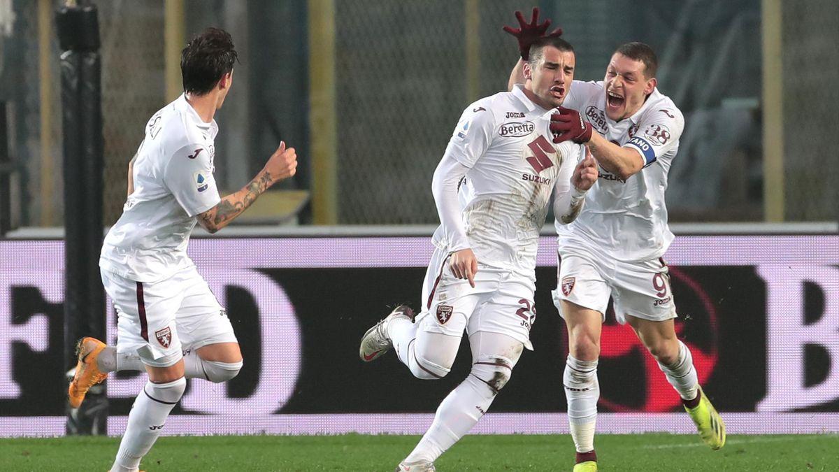 Federico Bonazzoli esulta dopo il gol del 3-3, Atalanta-Torino, Getty Images