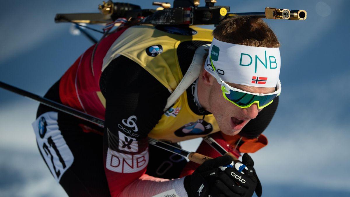 Johannes Thingnes Boe of Norway competes in the IBU Biathlon World Cup Men's 10 km Sprint on December 14, 2018
