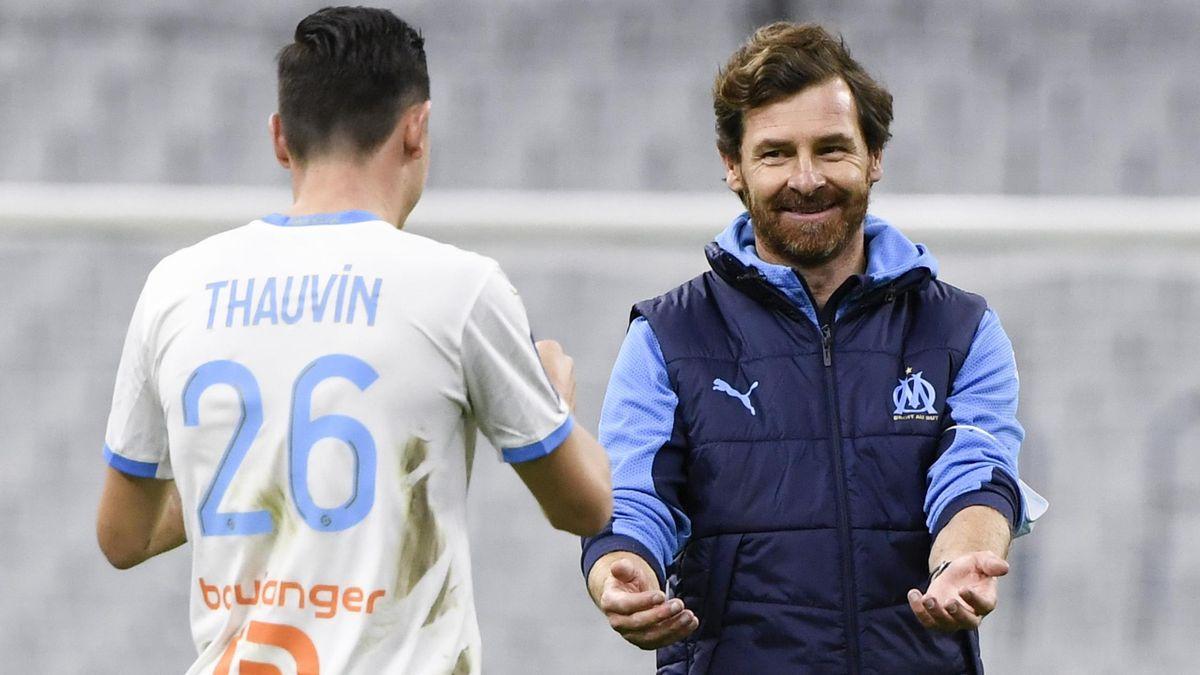 André Villas-Boas et Florian Thauvin après OM-Nantes (3-1).