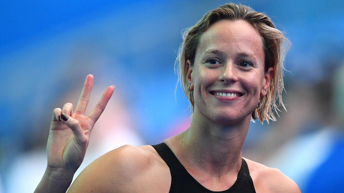 Federica Pellegrini of Italy reacts after the Women's 4x100m Medley Relay heats on day eight of the Gwangju 2019 FINA World Championships at Nambu International Aquatics Centre on July 28, 2019 in Gwangju, South Korea.