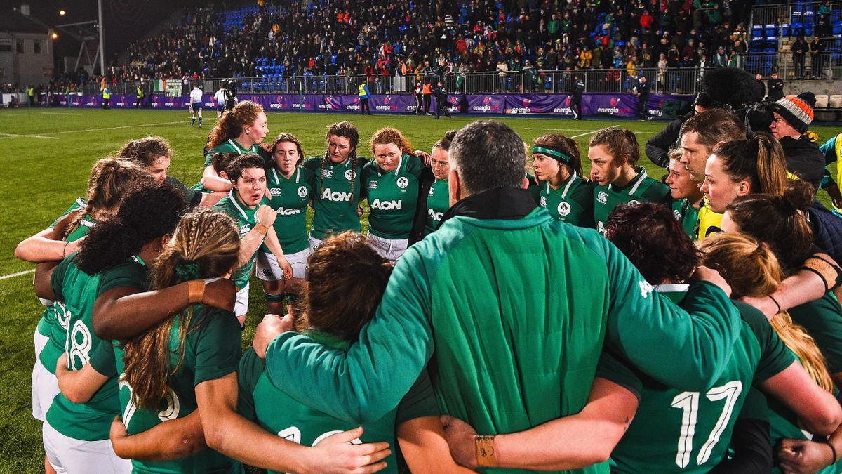 Ireland's players in a huddle at the 2019 tournament