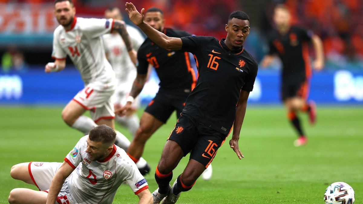 Ryan Gravenberch of Netherlands is challenged by Stefan Ristovski of North Macedonia