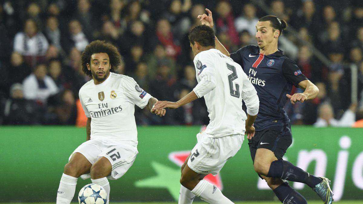 Varane et Marcelo (Real Madrid) face à Ibrahimovic (PSG)