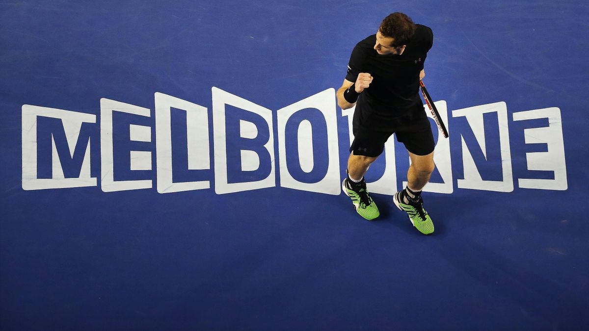 Andy Murray of Britain reacts after winning a point at the Australian Open