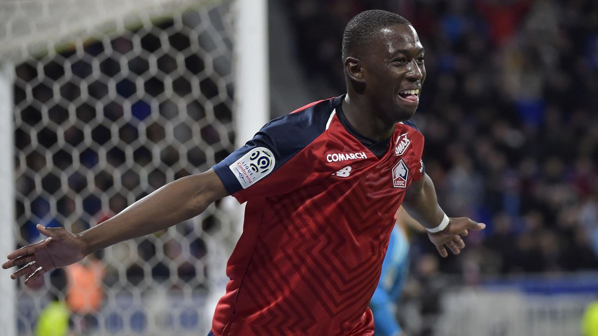 Lille's French midfielder Boubakary Soumare celebrates after scoring a goal during the French L1 football match between Olympique Lyonnais (OL) and Lille (LOSC) on May 5, 2019, at the Parc Olympique Lyonnais stadium in Decines-Charpieu, central-eastern Fr