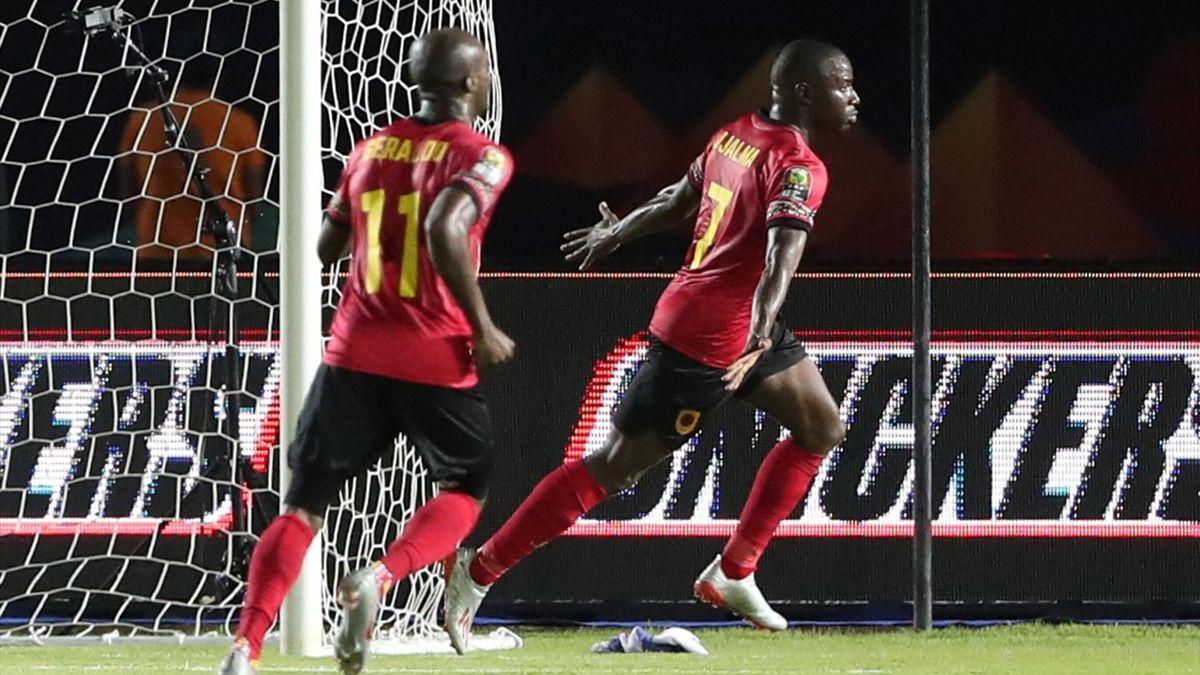 Angola's Djalma celebrates scoring their first goal
