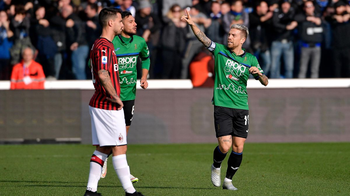 "Atalanta-Milan, Serie A 2019-2020: Alejandro Dario Gomez ""Papu"" (Atalanta), esulta dopo aver realizzato il go dell'1-0 (GettyImages)"
