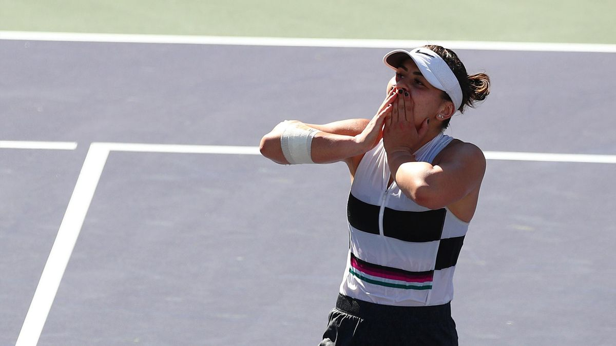 Bianca Andreescu of Canada celebrates her women's singles final victory against Angelique Kerber of Germany on Day 14 of the BNP Paribas Open at the Indian Wells Tennis Garden on March 17, 2019 in Indian Wells, California.