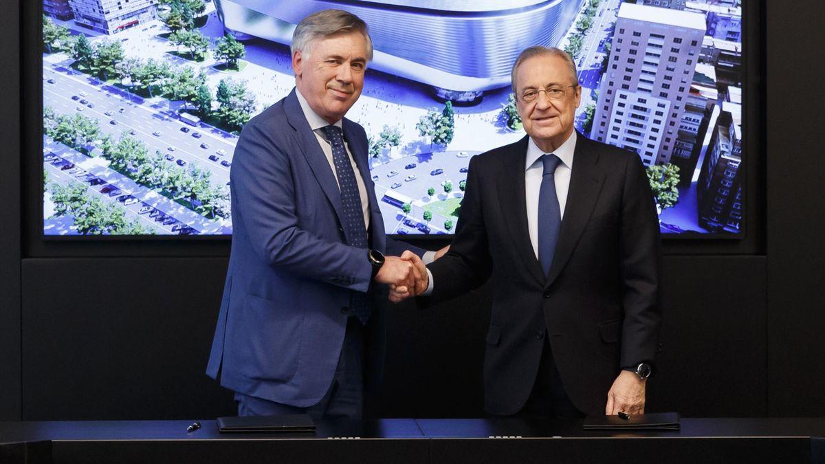 Carlo Ancelotti y Florentino Pérez, en la presentación del entrenador italiano como nuevo entrenador del Real Madrid