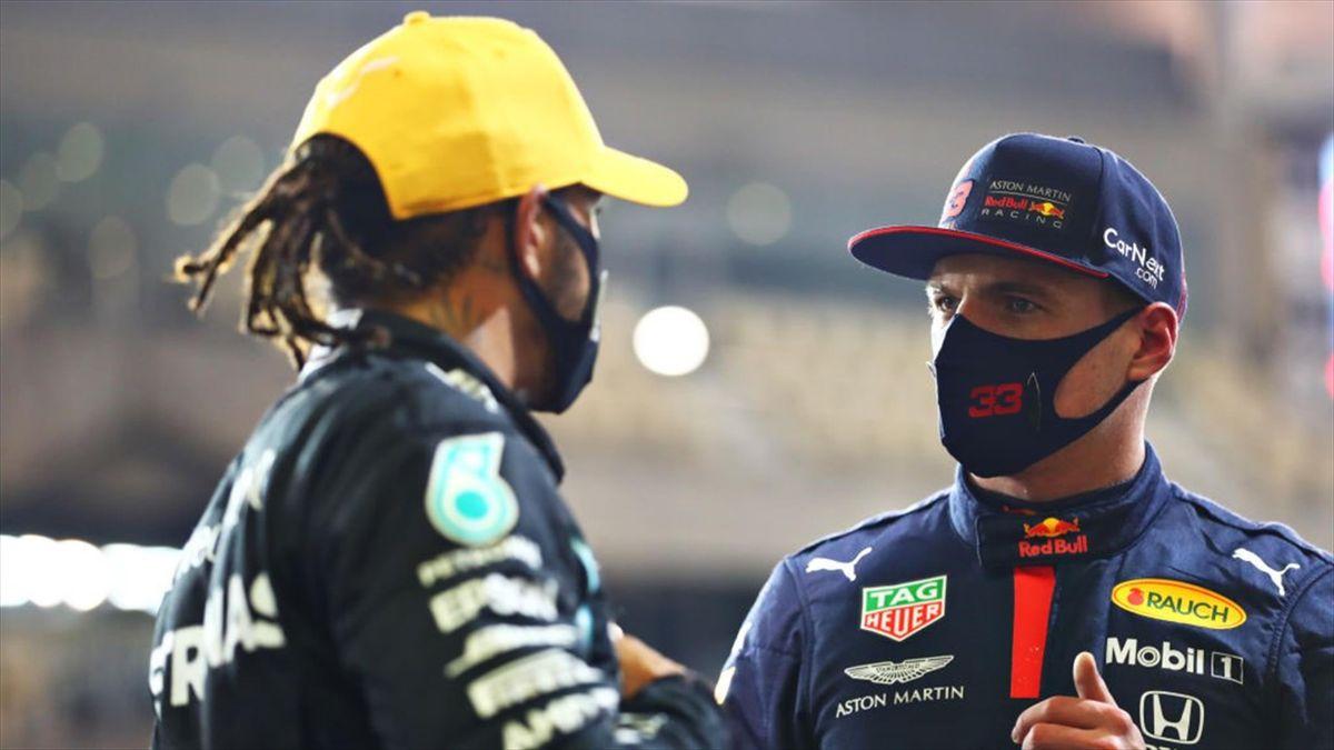 Max Verstappen (Red Bull) et Lewis Hamilton (Mercedes) au Grand Prix d'Abou Dabi 2020