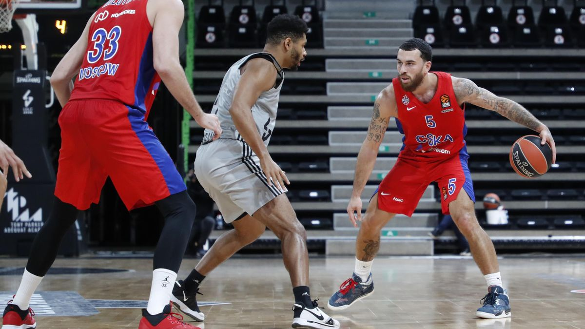 Mike James, #5 of CSKA Moscow and Allerik Freeman, #2 of LDLC Asvel Villeurbanne and Nikola Milutinov, #33 of CSKA Moscow during the 2020/2021 Turkish Airlines EuroLeague