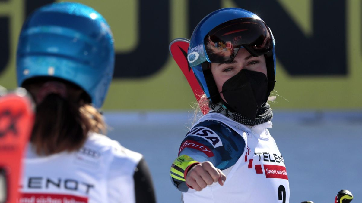 Mikaela Shiffrin (États-Unis) après le slalom géant de Jasna