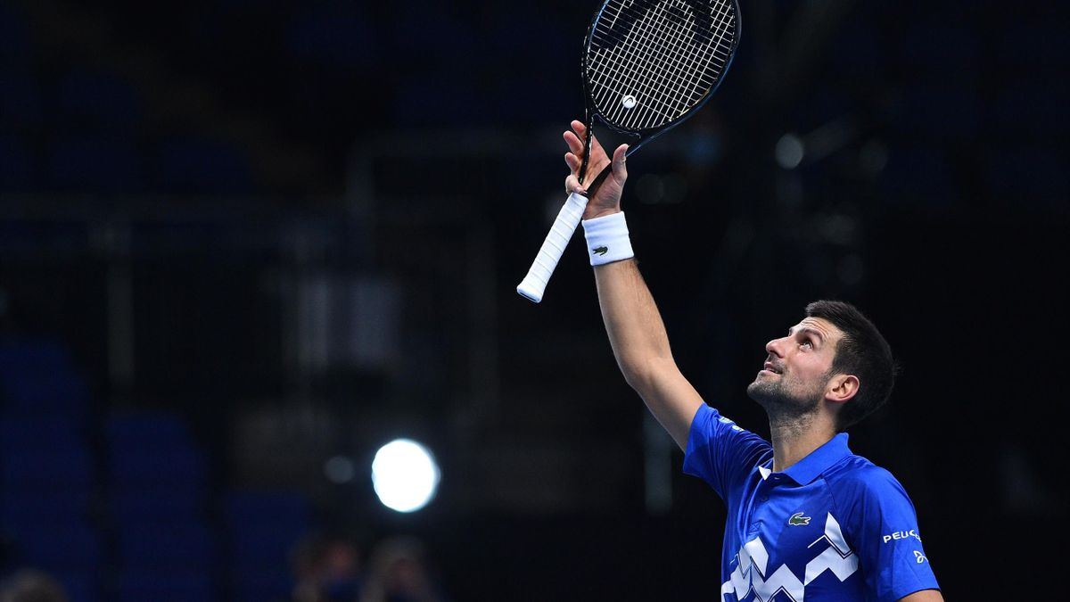 Serbia's Novak Djokovic reacts after winning in straight sets against Argentina's Diego Schwartzman in their men's singles round-robin match on day two of the ATP World Tour Finals tennis tournament at the O2 Arena in London on November 16, 2020